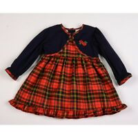 Spanish Style Romany Baby Girl Red  Tartan Dress 12 months 18 months 2 years
