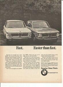 6 Original 1968 BMW 1600 or 2002 vintage print ads