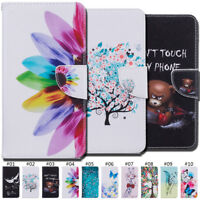 Card Slot Painted PU Leather Luxury Flip Stand Wallet Case Cover For Huawei Skin