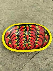 Mexican Art Handpainted Wood Bowl Chili Peppers Oval Trinket Dish Decorative