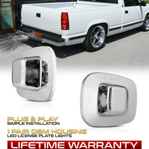 GMC C/K 1500 2500 3500 Chrome Tag Lights Bumper License Plate Lamps Replacement