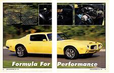 1970 1/2 PONTIAC FIREBIRD RAM AIR III FORMULA 400 ~ 3-PG MUSCLE CAR ARTICLE / AD