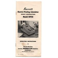 BARRETT Model B192E INSTRUCTION MANUAL Original Antique Mechanical Calculator