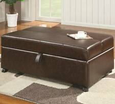 Brown Vinyl Upholstered Bench Ottoman with Fold Out Sleeper by Coaster 500750
