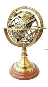 Collectible Engraved Brass Armillary Nautical Sphere Vintage Globe 5 Inch Deco