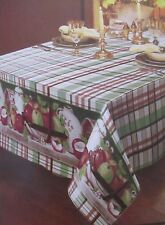 "RARE FLANNEL BACK TABLECLOTH OBLONG 52"" x 90"", (6-8 people) APPLES on TABLE"