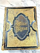"""1886 Antique Large Fine Leather Illustrated Book """"The Holy Bible"""" Religious"""
