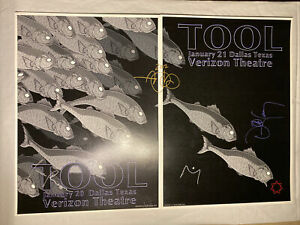 TOOL Band Signed Poster Lithograph 2012 Dallas, TX 2 Night Set ADAM JONES