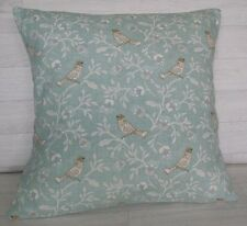 Handmade Cushion Cover - Marsons Bird Song Duck Egg - Same Fabric Front and Back
