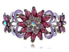 Purple Lavender Enamel Paint Burgundy Bead Flower Bracelet Bangle Cuff Xmas Gift