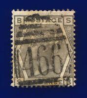 1875 SG147 6d Grey Plate 14 J84 SB Misperf Liverpool Good Used Cat £90 ckkn