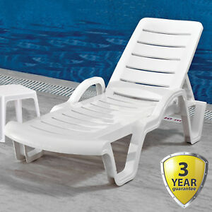 SUN LOUNGER OUTDOOR GARDEN PATIO WHITE PLASTIC WIPE CLEAN RECLINING RELAXER BED