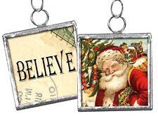 """BELIEVE - Santa # 29 ...  1-1/4"""" Reversible Framed Christmas Ornament / Charm"""