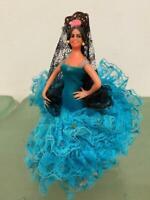 "Marin Chiclana Spain Flamenco Vtg Dancer 5"" Doll Blue Lace Mantilla, Stand"