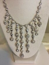 $195 Givenchy Chase Dramtic Crystal Tiered Necklace 205B