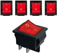 5 x Rocker Switches, ON-OFF , Rectangular, 4 Pins, 16A 250V AC ,DPST UK