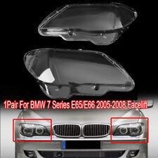 2x Headlight Plastic Headlamp Lens Cover For BMW 7 E65 / E66 LCI 2005-2008 L & R