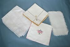 4 Vintage Linens -- 3 Hankies & 1 Miniature Table Runner