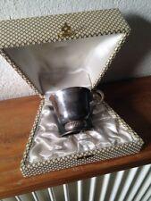 tasse / verre  métal argenté naissance baptème art déco en coffret