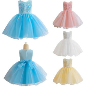 Kids Flower Girls Sequins Party Tulle Dress Tutu Dress Wedding Bridesmaid Gown