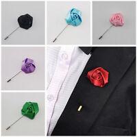 Silk Rose Flower Corsage Groom Best men Boutonniere pin Wedding Elegant Flowe fS