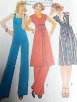 Vintage 1970s Simplicity 8075 Sewing Pattern Jumpsuit Tunic Dress Uncut Size 12