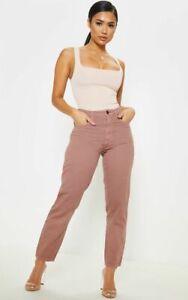 Prettylittlething Petite Dusty Pink Denim Mom Jeans UK Size 4 VR196 02