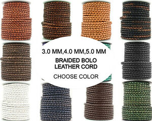 Xsotica® Round Bolo Braided Leather Cord 3mm,4mm,5mm-1 Yard -Choose Color