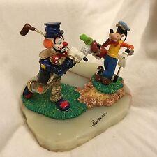 Disney Ron Lee Goofy & Emmett Kelley the Clown DUET GOLFING Large Figurine Statu