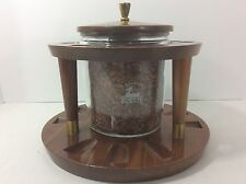 Vintage Pipe Stand Duk It Tobacco Humidor Smoking Rack Holds 9 Pipes Walnut Wood