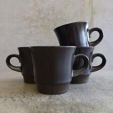 4  Vintage Noritake Primastone Campobello Cups Made in Japan 8305 Brown 1970s