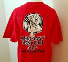 Arrogant Bastard Ale Gargoyle Beer Logo Stone Brewing Red T-Shirt Large