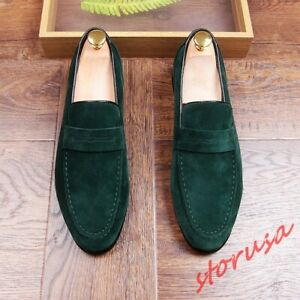 Mens Pointy Toe Suede Leather Slip On Loafers Dress Shoes Business Shoes Sz 6-11