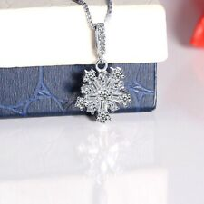 Women's Sterling Silver White Crystal Romantic Snowflake Pendant Necklace Gifts