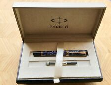 Parker Duofold International Fountain Pen Blue Marble 18K nib Boxed P'work  etc.