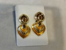 Cabouchon Gold/Golden/Brown Tone Enamel 18 Carat Gold Plated Clip Earrings