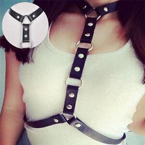 Leather Harness Chest Punk Body Bondage Waist Belt Women Handmade Fashion DSUK