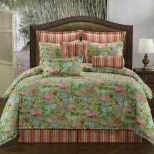 3-10 Pc Green w Pink Flamingos & Stripes Bedding Set Comforter Sham(s) Skirt