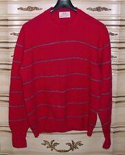 Lord Jeff XL 100% Shetland Wool Mens Crew Neck Sweater USA Magenta & Gray