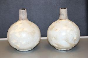 PTMD Collection - 2 x Einstielvasen - Bauchvasen aus Keramik = 12cm hoch