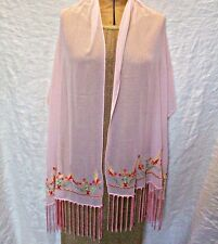 GORGEOUS STOLE SHAWL SCARF WRAP PALE PINK WITH EMBROIDERY TASSLES FESTIVAL CHIC