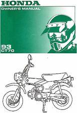 1993 Honda Ct70 Minibike Moto Propriétaires Manuel Honda Trail 70--ct 70