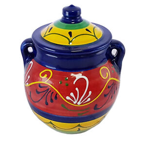 Kitchen Storage Jar Sugar Salt 16 cm X 15 cm Spanish Handmade Ceramic Pottery