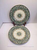 "Charles Ahrenfeldt Limoges Green Beige Floral Gold Gilt 2 Dinner Plates 10 3/4"""