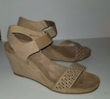 Chinese Laundry khaki tan nude perforated ankle one strap wedge heels sandal. 11