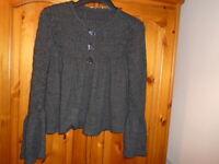 Stunning charcoal grey long sleeve boxy waist length cardigan, GEORGE, size 12