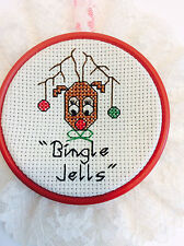 Cross Stitch Handmade Christmas Reindeer Ornament, Rudolph the Red Nose