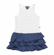 Toobydoo New York Striped Tank Ruffles Dress White and Blue - Size 4T or 5T