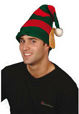 ELF HAT WITH PIXIE EARS IN RED & GREEN - FOR CHRISTMAS FANCY DRESS GROTTO