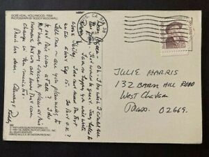 RODDY MCDOWALL SIGNED POSTCARD TO ACTRESS JULIE HARRIS - PLANET OF THE APES STAR